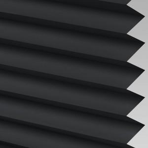 Black Pleated Light Filtering Horizontal Blinds