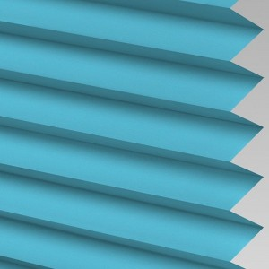 Blue Pleated Light Filtering Horizontal Blinds